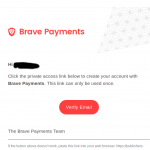 Brave Payments verify email